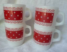 Set of 4 Vintage Fire King - Anchor Hocking Stackable White Milk Glass Mugs in Red Polka Dot Lace Pattern. At AngelGrace on Etsy.