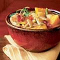 Our Pumpkin and Chicken Chowder is chock-full of corn, red and jalapeño peppers, leeks, and, of course, pumpkin.