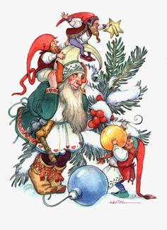 Deck the Bough by David Wenzel ~ Christmas ~ Kringle Hollow ~ elves Christmas Fairy, Christmas Past, Vintage Christmas Ornaments, Christmas Angels, Christmas Themes, Christmas Cards, Scandinavian Holidays, Illustrator, Magical Pictures