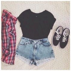 Hipster. Vans. Cute outfit with vans. Flannel. Plaid