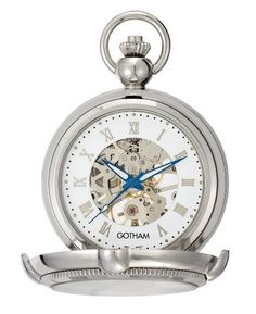 Gotham Men's Silver-Tone Photo Insert Skeleton Pocket Watch with Built-in Stand # GWC14062S Gotham. $89.95. Save 70%!