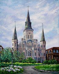 New Orleans Landscape Paintings - St. Louis Cathedral by Dianne Parks