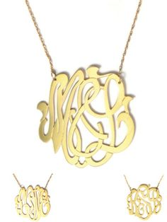 Cheshire Script Metal Monogram Necklace (gold filled shown, also available in sterling silver)