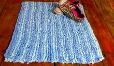 Unique Rag Rug  Pale Blue Handmade Recycled Knitting by FearMe, £30.00