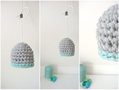 #woven lampshade #fabric lampshade #knit lampshade #grey blue lampshade #pendant light fitting