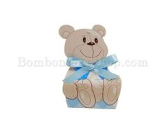 Blue bear shaped bag with confetti - sweets. Cute and cheap. Great idea for a baby boy's party favour. http://www.bombonierashop.com/en/department/5/Birth-and-Baptisms.html