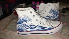 The Great Wave off Kanagawa hand painted onto converse high .- The Great Wave off Kanagawa hand painted onto converse high tops Excited to share this item from my shop: The Great Wave off Kanagawa hand painted onto converse high tops - Converse Haute, Converse Shoes Men, Diy Converse, Converse Design, Painted Converse, Women's Shoes, Me Too Shoes, Cool Converse High Tops, Cool High Tops