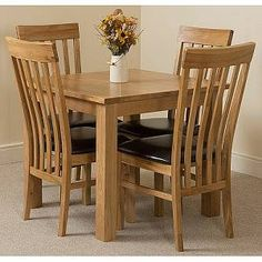 Stumptown Ales Solid Oak Dining Set with 4 Princeton Chairs Red Barrel Studio Oak Extending Dining Table, Oak Dining Sets, Solid Oak Dining Table, Corner Dining Set, Oak Dining Chairs, Kitchen Dining Sets, Small Dining, Extendable Dining Table, Dining Room Furniture
