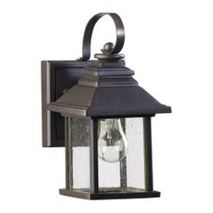 One Light Oiled Bronze Clear Seeded Glass Wall Lantern : JPQ7 | Hansen Lighting