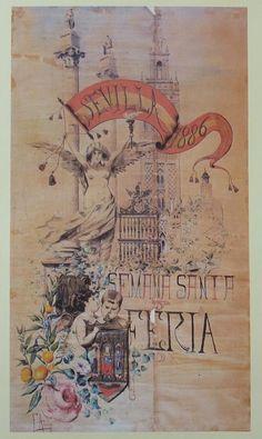 Cartel de Las Fiestas de Primavera de Sevilla 1886