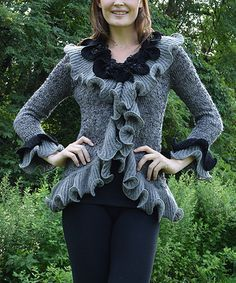 Take a look at this Black & Gray Ruffle Wool-Blend Cardigan on zulily today!