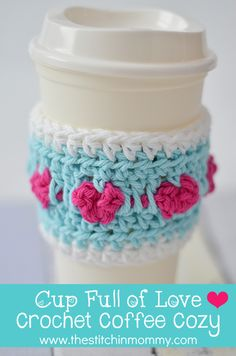 Celebrate Valentine's Day with this quick and easy Cup Full of Love Crochet Coffee Cozy. The pattern is free and it works up really quickly!