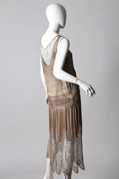 1920s Art Deco Lace made from Silver and Beads For Sale at 1stdibs