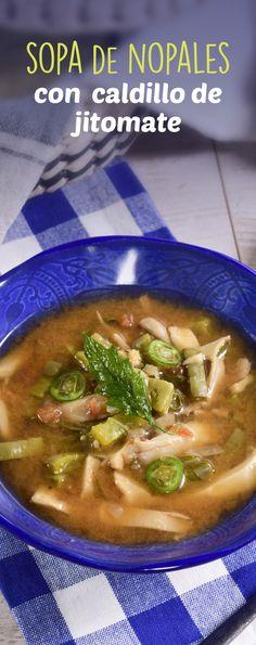 Esta sopa de nopales con caldo de jitomate y epazote es ideal para empezar  una sopa mexicana  exquisita de Otoño o para temporadas de frío. Los hongos, el clavo, el orégano y el chile chipotle seco le va a dar el toque ideal para que sea tu sopa favorita.