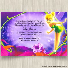 Nice Magical Tinker Bell Baby Shower Invitations