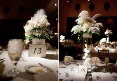 A Glam 1920s-Inspired Wedding with Feather Accents by Amanda Donaho Photography | TheKnot.com