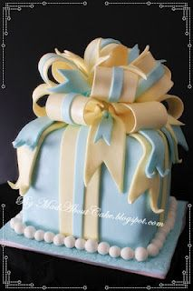 square gift box cake w/bow  M.A.D. mad about cake