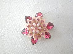 Pink Rhinestone Gold Tone Flower Brooch Early by GallivantsVintage, $15.00