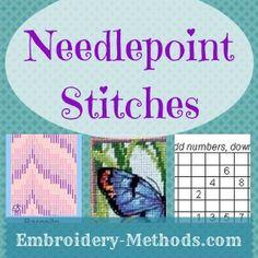Charts for basic needlepoint stitches -- Embroidery-Methods.com