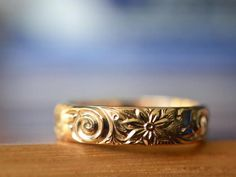 Items similar to Gold Ring, Solid Gold Personalised Men's Floral Wedding Band, Embossed Flower Design, Customised Renaissance Yellow Gold Jewelry on Etsy Silver Wedding Bands, Wedding Rings Vintage, 14k Gold Ring, Silver Rings, Gold Jewelry, Unique Jewelry, Handmade Jewelry, Engagement Bands, Ring Designs