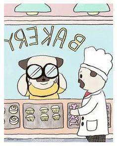 Binoculars Bakery - Pug Art Print by Claire Chambers - ChickenpantsStudio Pug Illustration, Pug Art, Clear Bags, Paper Design, Binoculars, Pugs, Original Paintings, Things To Come, Art Prints