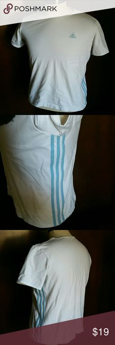 ADIDAS- WHITE STRIPED TEE Sift jersey tee Light blue stripes on both sides Short sleeve Adidas logo on front in blue Size Tag was taken out cut it is a large number its a nice fitted tee for xl  Lots of stretch n great for working out n comfort Adidas Tops Tees - Short Sleeve