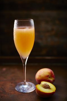 The classic peach Bellini cocktail