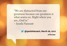 Iyanla Vanzant quote from Oprah's Lifeclass: the Tour