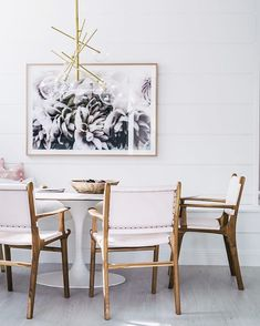 """[ Dining Room REVEAL ] So many things I LOVE about this room, the pendant was supposed to be the hero but it had a tonne of competition from our supremely talented friend @danielle_cross whose print """"White Beauty"""" nearly stole the show! And those blush pink leather chairs by @barnaby_lane well I'm taking them home with me... Because as if I wouldn't!! XO  @hannahblackmore"""