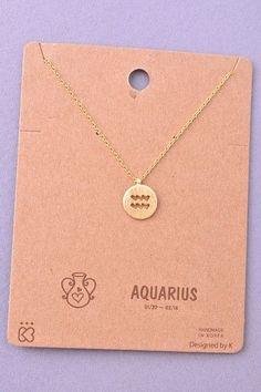 Dainty Circle Coin Aquarius Zodiac Symbol Necklace - Gold, Silver or Rose Gold