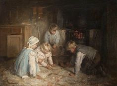 robert gemmell hutchison(1855–1936), spider on the hearth. oil on canvas, 56.2 x 75 cm. east ayrshire council, uk http://www.bbc.co.uk/arts/yourpaintings/paintings/spider-on-the-hearth-207732