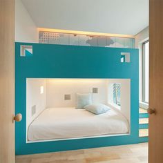 """Another minimalist children's room featuring an enormous fort-like bed. The lower bed is open to the rest of the room, featuring """"windows"""" that let light in from the window on the right. Stairs and a ladder lead up to the second bunk. My New Room, My Room, Kid Beds, Bunk Beds, Dream Bedroom, Kids Bedroom, Bedroom Nook, Bedroom Art, Bedroom Ideas"""