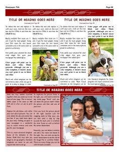 """All-purpose inside page template that utilizes 4 columns. A handy picture frame helps you to spotlight a picture. Try this 11""""x14"""" newspaper template now using our Free Cloud Designer: www.makemynewspaper.com/free-newspaper-templates"""
