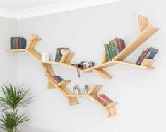 Tree Bookshelf, Tree Shelf, Wall Bookshelves, Tree Wall, Oak Wall Shelves, Floating Wall Shelves, Rustic Shelves, Wooden Book Stand, Wooden Books