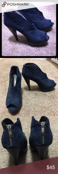 Bakers Blue suede booties! Worn for one night only! Still is like new condition. Faux suede shoes! Platform front and 5in heel. Silver zipper detail in the back! Bakers Shoes Ankle Boots & Booties