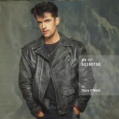 News Photo: Actor Rupert Everett posing in a leather jacket