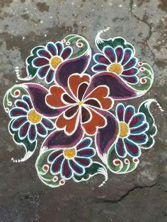 Kolam Rangoli, Simple Rangoli, Beautiful Rangoli Designs, Kolam Designs, Latest Rangoli, Free Hand Rangoli Design, Diwali, Flower Decorations, Dots
