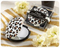 Cheetah Print Compact Mirror Favors- Adorable to give out as favors for a cheetah baby shower!