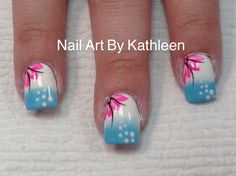 White And Blue Ombre Nails With Pink Flowers