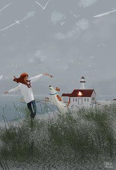 Illustration, Poster, Grafik: Winter Afternoon by the coast Wal Art, Pascal Campion, Illustration Mode, Anime Comics, Cute Art, Amazing Art, Fantasy Art, Concept Art, Art Drawings