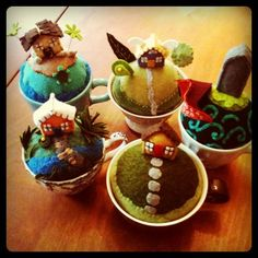 love these tiny world in a teacup pincushions - I want one!!!