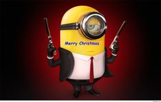 Funny Merry Christmas black minion