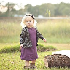 Pretty in Plum || shown: Plum Any Wear Dress - Little Faces Apparel. Purple baby dress, baby girl clothes, toddler girl fashion, basic dresses for baby girl.