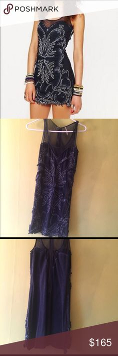 Rare, Unique, Original, Free People Dress Amazingly soft and rare, embellished, Free People body-con. Beautiful, flattering piece on many body types. Great for weekends with friends, or evenings out. One of my favorite Free People pieces. Still debating selling. Deep blue embellished with silver beads creating unique, slimming pattern. Free People Dresses Mini