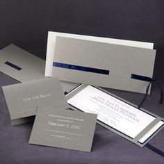Crisp grey pocket wedding invitations are modern for your elegant wedding. Soft grey, bright white and navy combine for a fresh and crisp wedding look! Pocket Invitation, Pocket Wedding Invitations, Wedding Stationary, Pocketfold Invitations, Invites, Wedding Book, Dream Wedding, Wedding Ideas, Real Couples