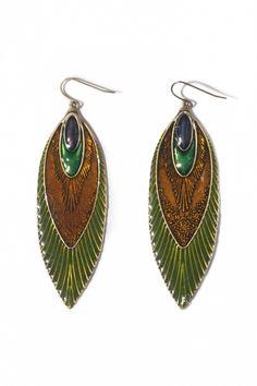 From Paris with Love! - From Paris with Love! - 40s Enamelled Faux Feathers earrings