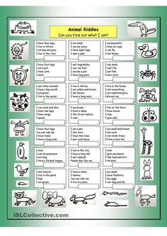 Animal Riddles 1 (Easy) - English ESL Worksheets for distance learning and physical classrooms Animal Riddles, Animal Worksheets, Printable Worksheets, Vocabulary Worksheets, English Games, English Activities, English Lessons, Learn English, English Class