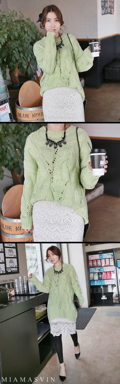 Lace and Cable Knit Pullover  #autumn #fall #fashion #style