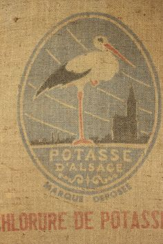 Wonderful vintage French Burlap sack ~ beautiful bird stamp ~ ideal for framing ~ charming French country vintage style ~ www.textiletrunk.com