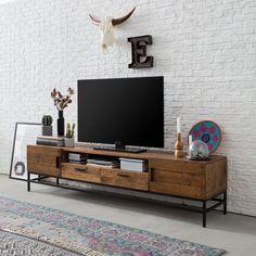 Tv-meubel Grasby II - oud pijnboomhout/metaal | home24.nl